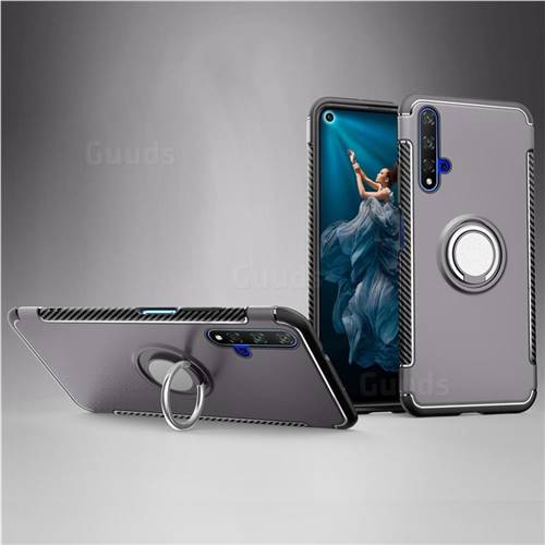Armor Anti Drop Carbon PC + Silicon Invisible Ring Holder Phone Case for Huawei Honor 20 - Grey