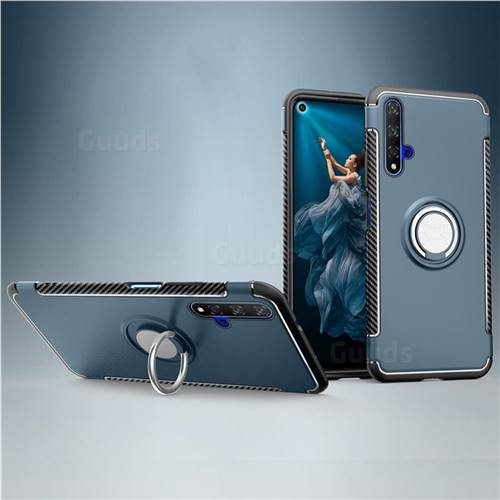Armor Anti Drop Carbon PC + Silicon Invisible Ring Holder Phone Case for Huawei Honor 20 - Navy