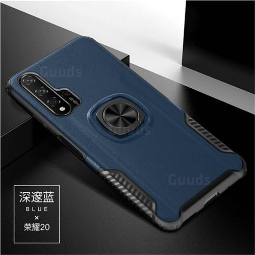 Knight Armor Anti Drop PC + Silicone Invisible Ring Holder Phone Cover for Huawei Honor 20 - Sapphire