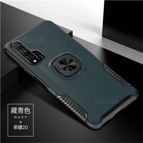 Knight Armor Anti Drop PC + Silicone Invisible Ring Holder Phone Cover for Huawei Honor 20 - Navy