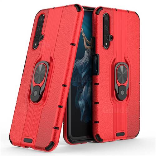 Alita Battle Angel Armor Metal Ring Grip Shockproof Dual Layer Rugged Hard Cover for Huawei Honor 20 - Red