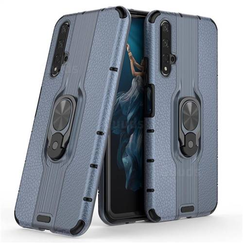 Alita Battle Angel Armor Metal Ring Grip Shockproof Dual Layer Rugged Hard Cover for Huawei Honor 20 - Blue