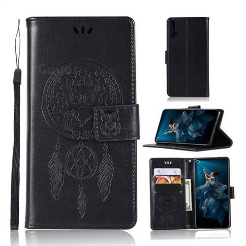 Intricate Embossing Owl Campanula Leather Wallet Case for Huawei Honor 20 - Black