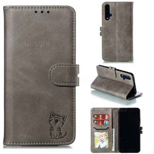 Embossing Happy Cat Leather Wallet Case for Huawei Honor 20 - Gray