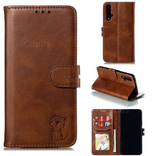 Embossing Happy Cat Leather Wallet Case for Huawei Honor 20 - Brown