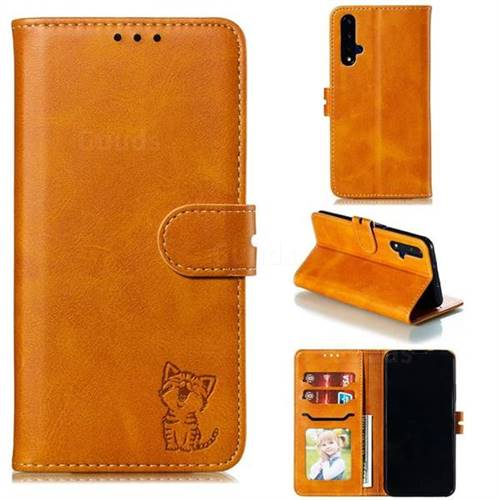 Embossing Happy Cat Leather Wallet Case for Huawei Honor 20 - Yellow