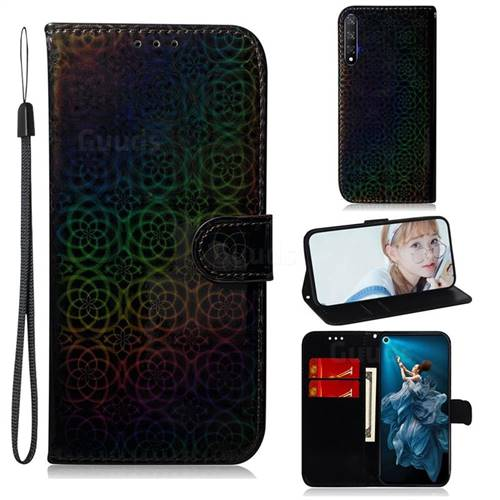 Laser Circle Shining Leather Wallet Phone Case for Huawei Honor 20 - Black