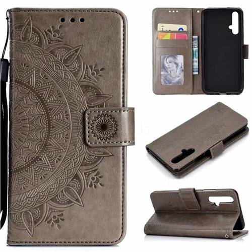 Intricate Embossing Datura Leather Wallet Case for Huawei Honor 20 - Gray