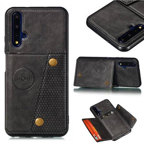 Retro Multifunction Card Slots Stand Leather Coated Phone Back Cover for Huawei Honor 20 - Black