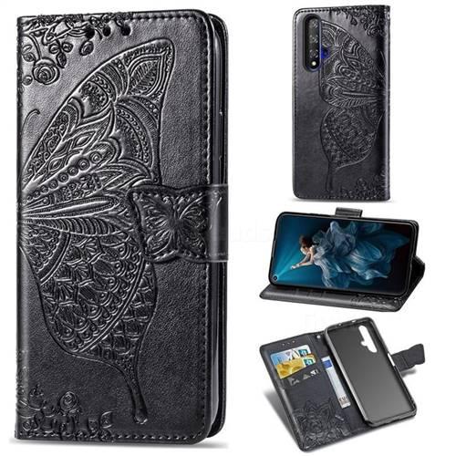 Embossing Mandala Flower Butterfly Leather Wallet Case for Huawei Honor 20 - Black