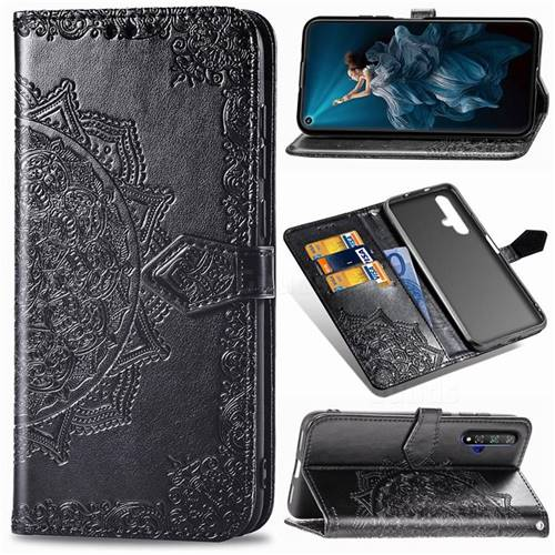 Embossing Imprint Mandala Flower Leather Wallet Case for Huawei Honor 20 - Black