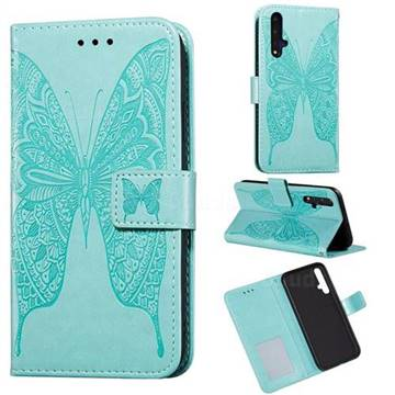 Intricate Embossing Vivid Butterfly Leather Wallet Case for Huawei Honor 20 - Green
