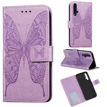Intricate Embossing Vivid Butterfly Leather Wallet Case for Huawei Honor 20 - Purple