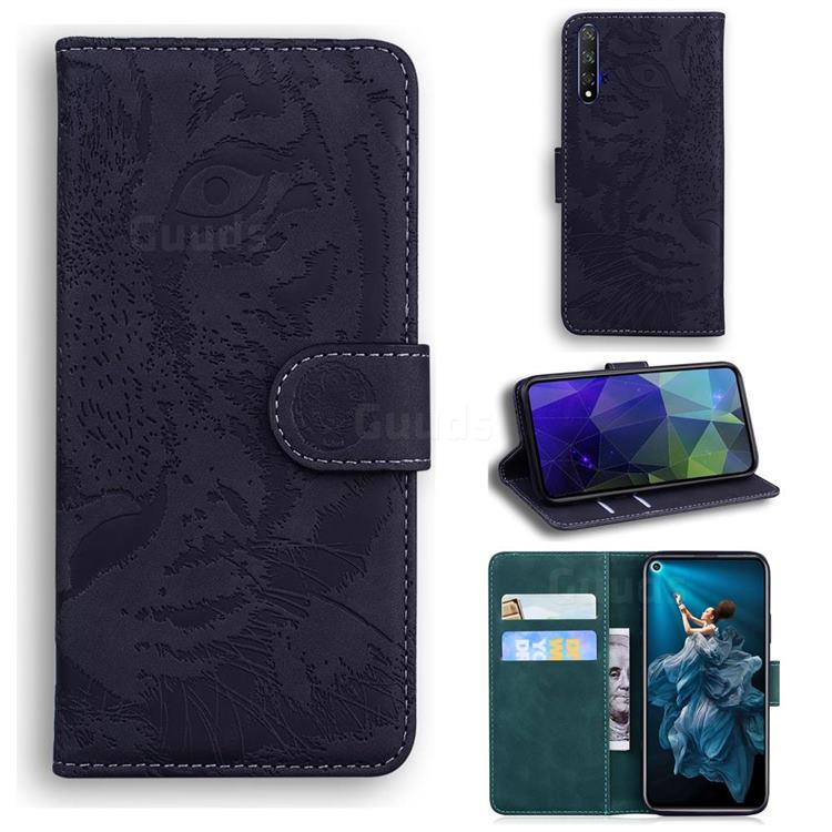 Intricate Embossing Tiger Face Leather Wallet Case for Huawei Honor 20 - Black
