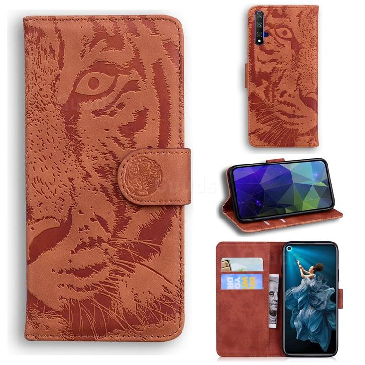 Intricate Embossing Tiger Face Leather Wallet Case for Huawei Honor 20 - Brown