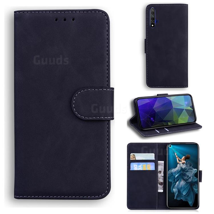 Retro Classic Skin Feel Leather Wallet Phone Case for Huawei Honor 20 - Black