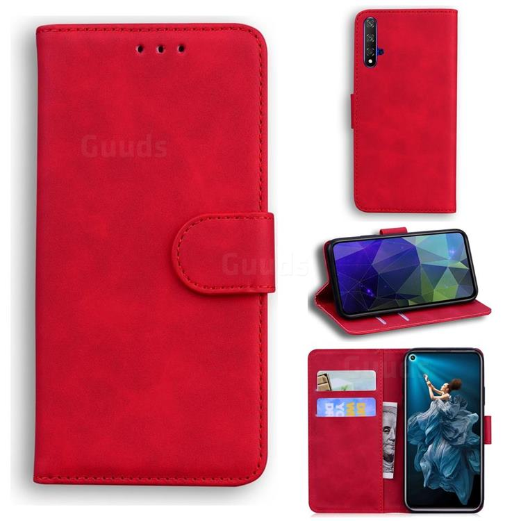Retro Classic Skin Feel Leather Wallet Phone Case for Huawei Honor 20 - Red