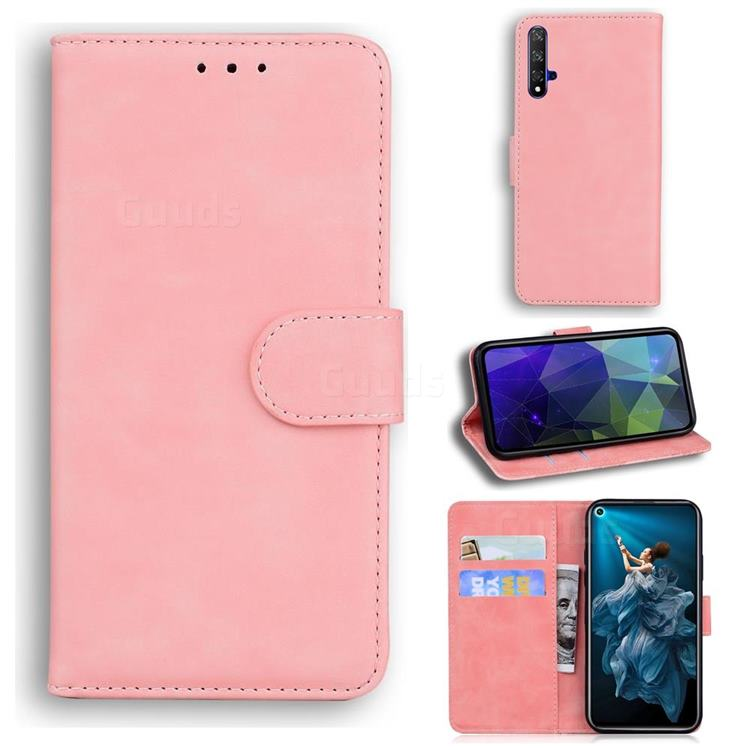 Retro Classic Skin Feel Leather Wallet Phone Case for Huawei Honor 20 - Pink