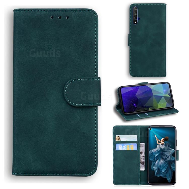 Retro Classic Skin Feel Leather Wallet Phone Case for Huawei Honor 20 - Green