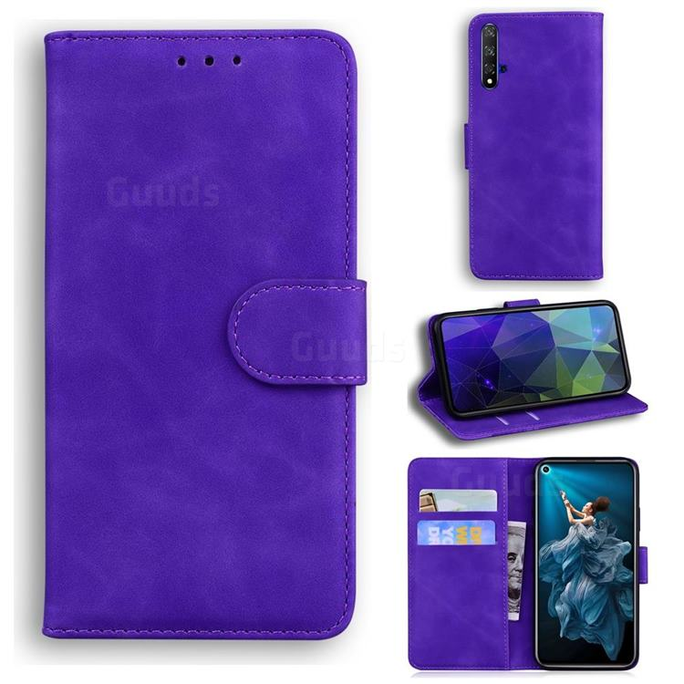 Retro Classic Skin Feel Leather Wallet Phone Case for Huawei Honor 20 - Purple