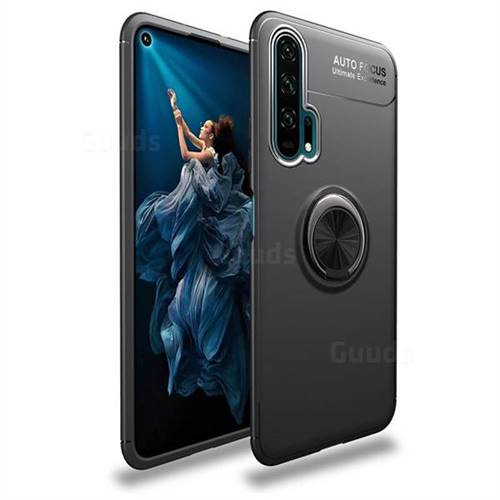Auto Focus Invisible Ring Holder Soft Phone Case for Huawei Honor 20 Pro - Black