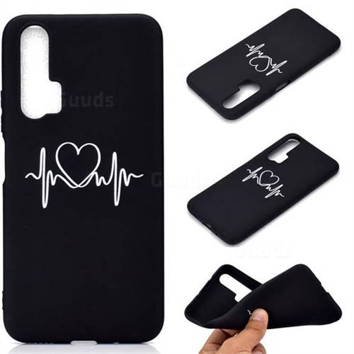 Heart Radio Wave Chalk Drawing Matte Black TPU Phone Cover for Huawei Honor 20 Pro