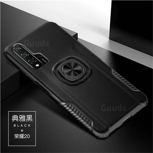 Knight Armor Anti Drop PC + Silicone Invisible Ring Holder Phone Cover for Huawei Honor 20 Pro - Black