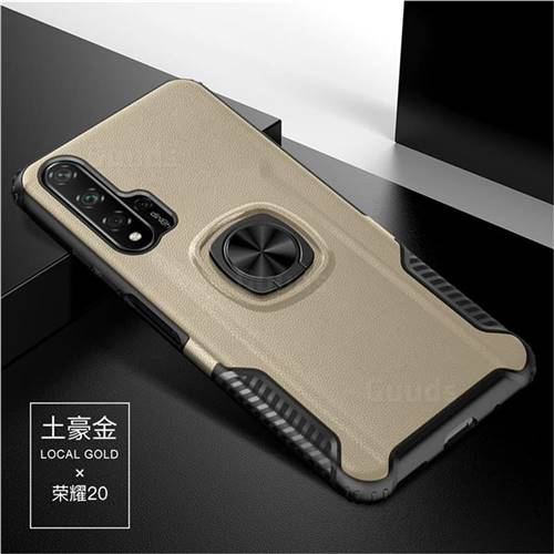 Knight Armor Anti Drop PC + Silicone Invisible Ring Holder Phone Cover for Huawei Honor 20 Pro - Champagne