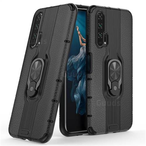 Alita Battle Angel Armor Metal Ring Grip Shockproof Dual Layer Rugged Hard Cover for Huawei Honor 20 Pro - Black