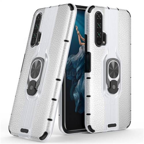 Alita Battle Angel Armor Metal Ring Grip Shockproof Dual Layer Rugged Hard Cover for Huawei Honor 20 Pro - Silver