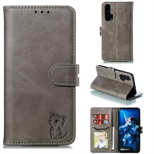 Embossing Happy Cat Leather Wallet Case for Huawei Honor 20 Pro - Gray