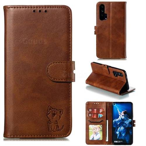 Embossing Happy Cat Leather Wallet Case for Huawei Honor 20 Pro - Brown