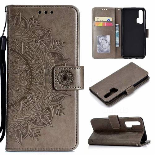 Intricate Embossing Datura Leather Wallet Case for Huawei Honor 20 Pro - Gray