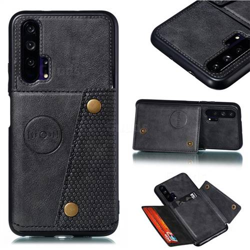 Retro Multifunction Card Slots Stand Leather Coated Phone Back Cover for Huawei Honor 20 Pro - Black