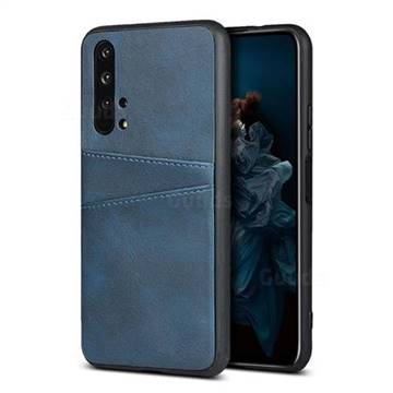 Simple Calf Card Slots Mobile Phone Back Cover for Huawei Honor 20 Pro - Blue