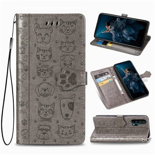 Embossing Dog Paw Kitten and Puppy Leather Wallet Case for Huawei Honor 20 Pro - Gray
