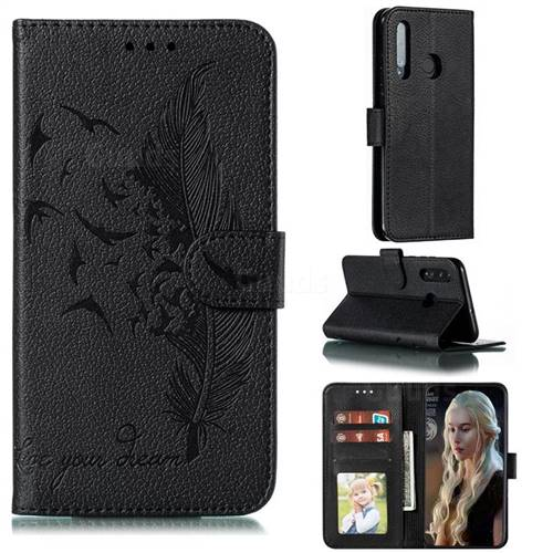 Intricate Embossing Lychee Feather Bird Leather Wallet Case for Huawei Honor 20i - Black