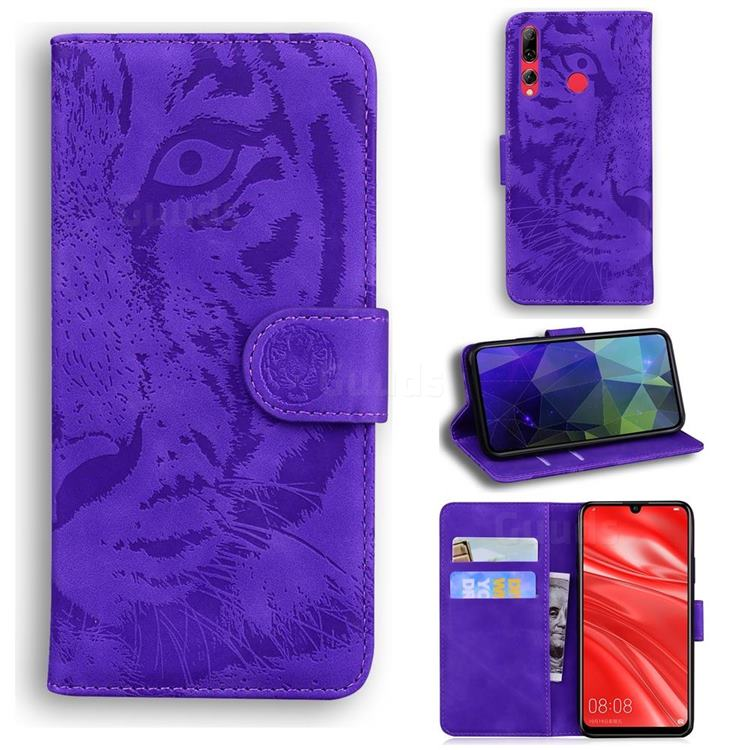 Intricate Embossing Tiger Face Leather Wallet Case for Huawei Honor 20i - Purple