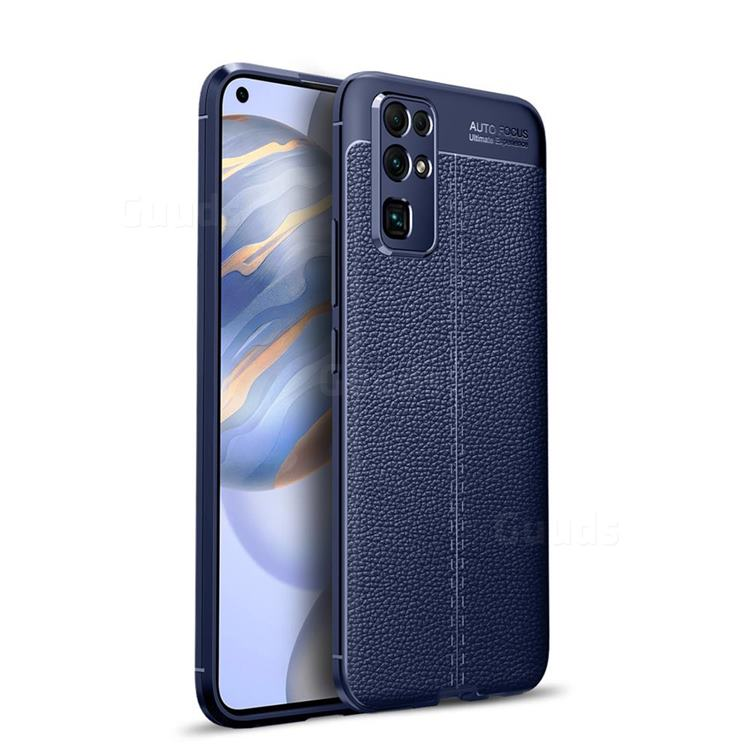 Luxury Auto Focus Litchi Texture Silicone TPU Back Cover for Huawei Honor 30 - Dark Blue