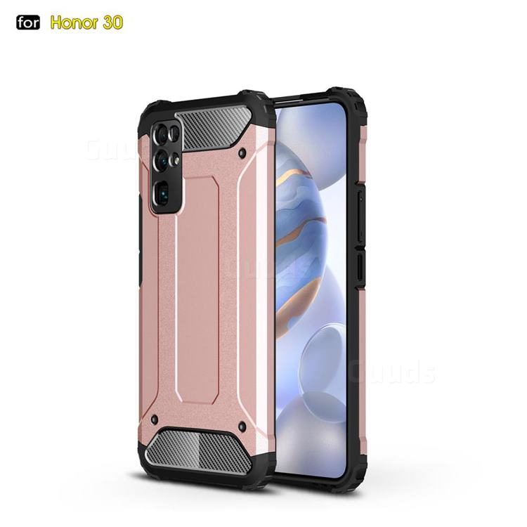 King Kong Armor Premium Shockproof Dual Layer Rugged Hard Cover for Huawei Honor 30 - Rose Gold