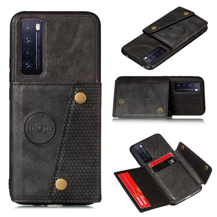 Retro Multifunction Card Slots Stand Leather Coated Phone Back Cover for Huawei Honor 30 - Black
