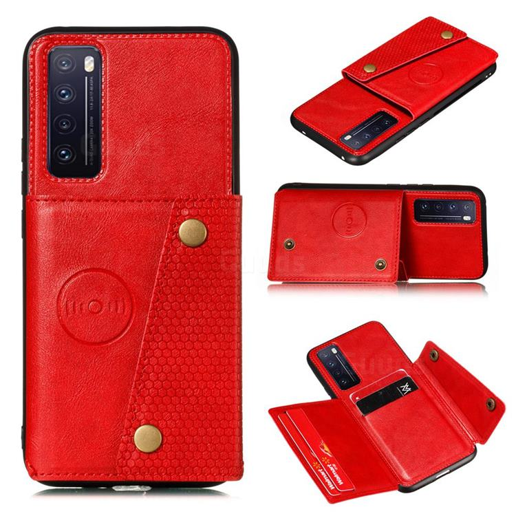Retro Multifunction Card Slots Stand Leather Coated Phone Back Cover for Huawei Honor 30 - Red