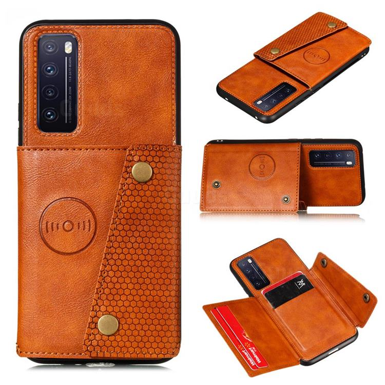 Retro Multifunction Card Slots Stand Leather Coated Phone Back Cover for Huawei Honor 30 - Brown