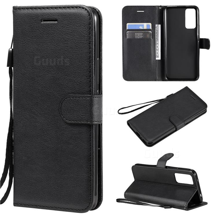Retro Greek Classic Smooth PU Leather Wallet Phone Case for Huawei Honor 30 - Black