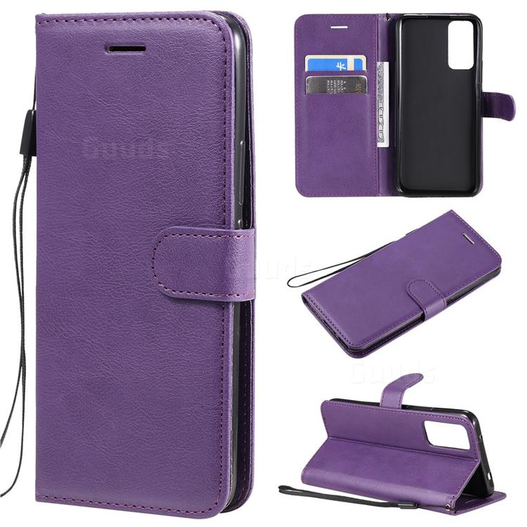 Retro Greek Classic Smooth PU Leather Wallet Phone Case for Huawei Honor 30 - Purple