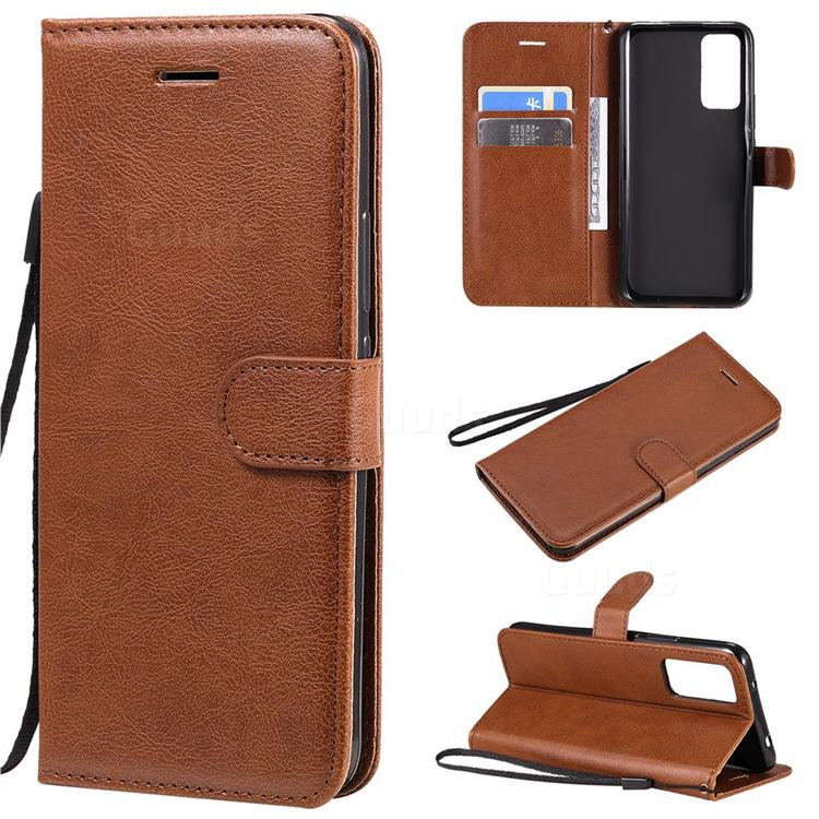 Retro Greek Classic Smooth PU Leather Wallet Phone Case for Huawei Honor 30 - Brown