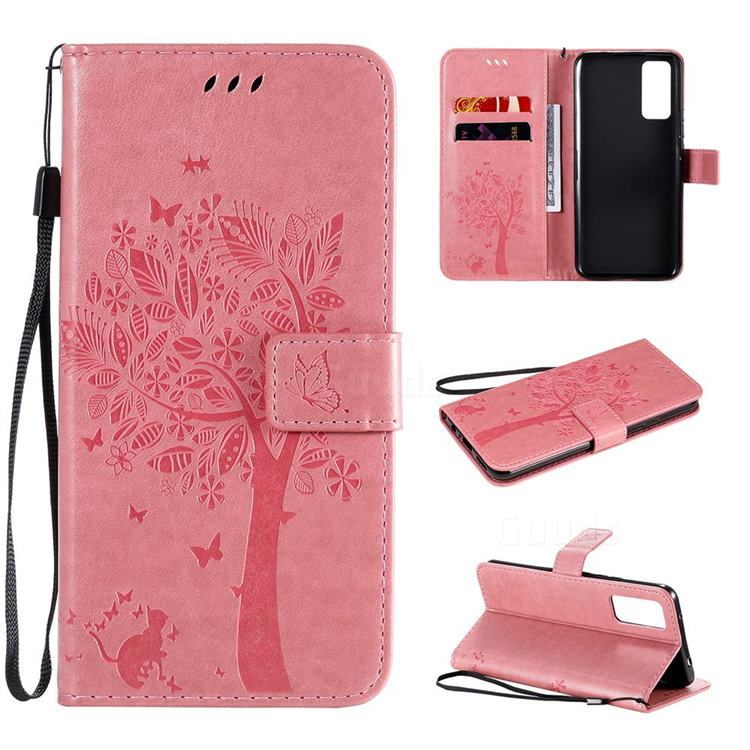 Embossing Butterfly Tree Leather Wallet Case for Huawei Honor 30 - Pink