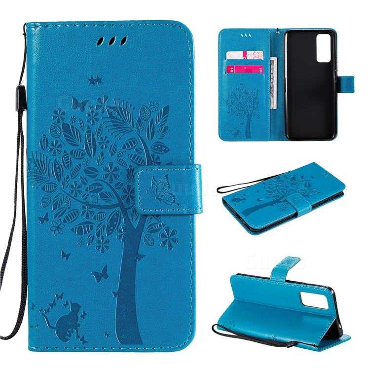 Embossing Butterfly Tree Leather Wallet Case for Huawei Honor 30 - Blue
