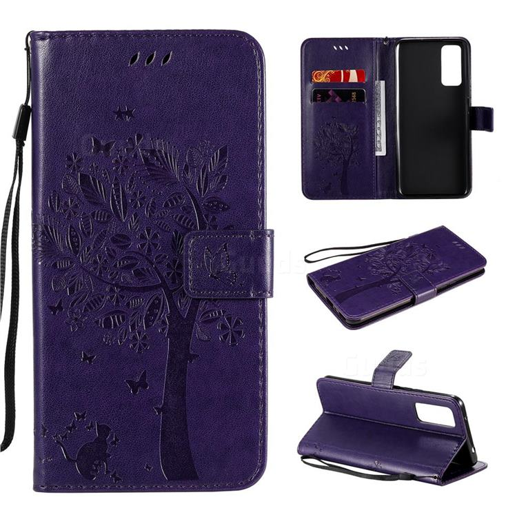 Embossing Butterfly Tree Leather Wallet Case for Huawei Honor 30 - Purple