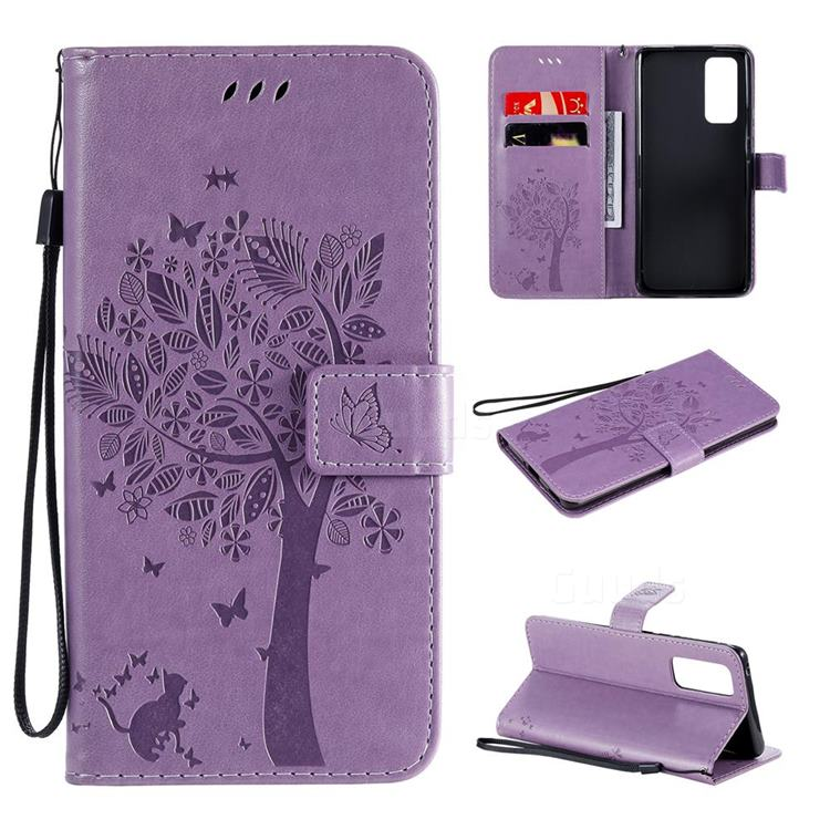 Embossing Butterfly Tree Leather Wallet Case for Huawei Honor 30 - Violet